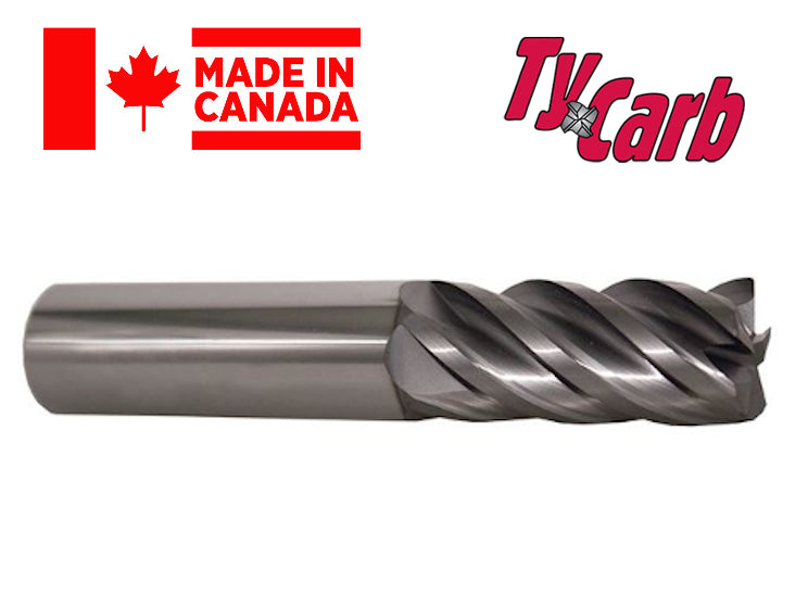 "3/4"" 4 Flute Variable Flute TiAlN Coated Carbide End Mill (0.060"" Rad) - TyCarb"