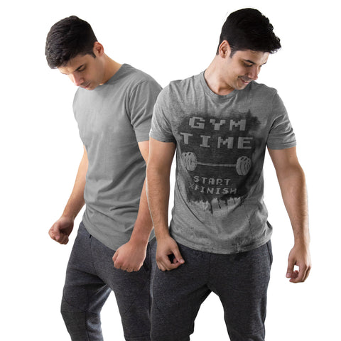 Gym Time Grey Men's Workout Top With Sweat Activated Message
