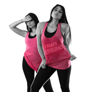 Womens Plus Size Workout Tank Top I Hate Running Pink Sweat Activated Tee