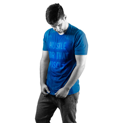 Workout Shirt Plus Size Men Blue Sweat Activated Tee