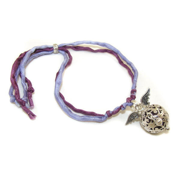 love, peace, happiness - Engelsrufer Armband mit Seide, Lila - Freiheit