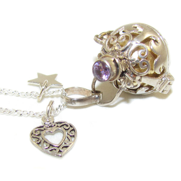 Engelsrufer Amethyst mit Herz Edelsteinkette sweet dreams - Intiution - samaki originals