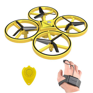 Hand motion operated quadcopter drone toy