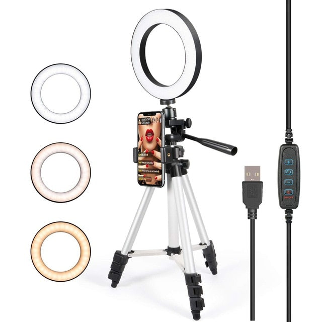 Phone holder tripod with LED ring