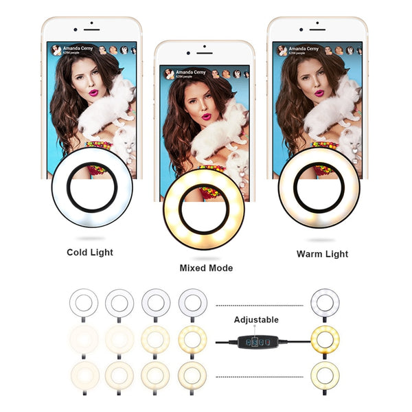 Selfie ring LED light with phone holder