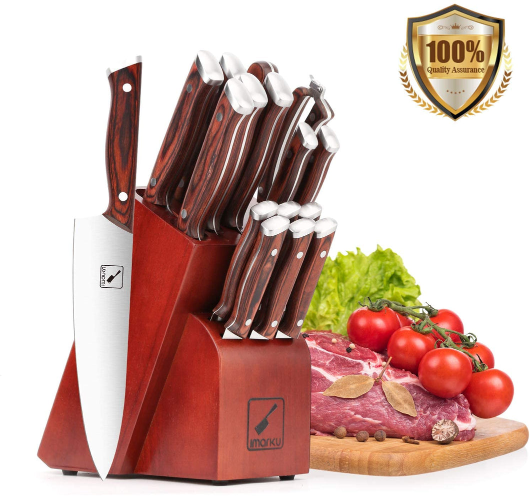 imarku 16-Piece Professional Kitchen Knife Set with Knife Sharpener