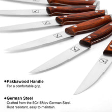 Load image into Gallery viewer, imarku 6-Piece Steak Knife Set, 5Cr5Mov German Stainless Steel Premium Steak Knives Set