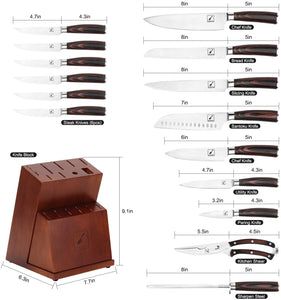 Kitchen Knife Set, imarku 16-Piece Knife Set with Removable Steak Knife Block