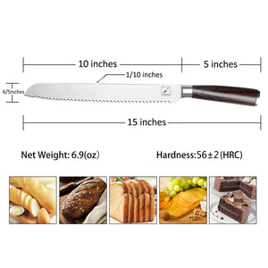 Bread Knife, imarku 10-Inch German High Carbon Stainless Steel Professional Grade Bread Slicing Knife