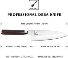 Load image into Gallery viewer, imarku Deba Knife, 7 inch Fish Fillet Knife, Stainless Steel Single Bevel Japanese Kitchen Knife for Fish Cutting with Ergonomic Handle