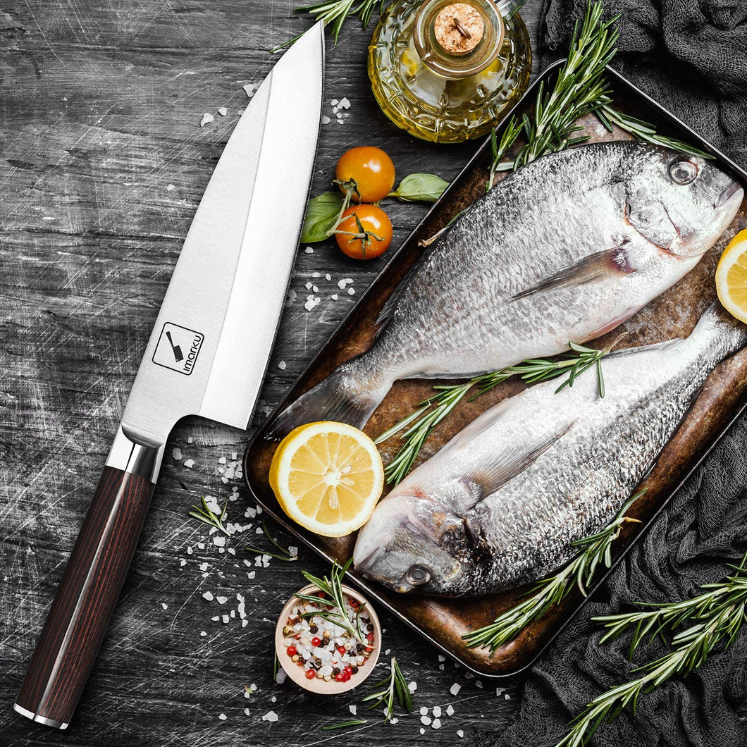 imarku Deba Knife, 7 inch Fish Fillet Knife, Stainless Steel Single Bevel Japanese Kitchen Knife for Fish Cutting with Ergonomic Handle
