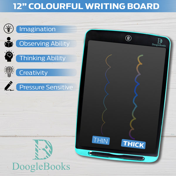 DoogleBooks® 12-Inch Colourful LCD Writing Board with 2 Batteries, 2 Styluses, Sleeve & More more - DoogleBooks