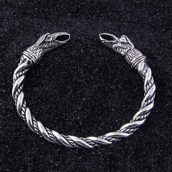 BRACELET VIKING HUGIN ET MUNIN ARGENT STERLING .925-Viking Héritage