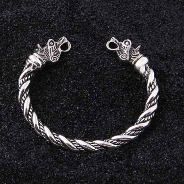 BRACELET VIKING TÊTE DE DRAGON ARGENT STERLING .925