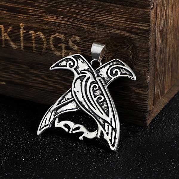 COLLIER VIKING HUGIN ET MUNIN EN ARGENT STERLING .925-Viking Héritage
