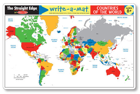 World Map Write-A-Mat