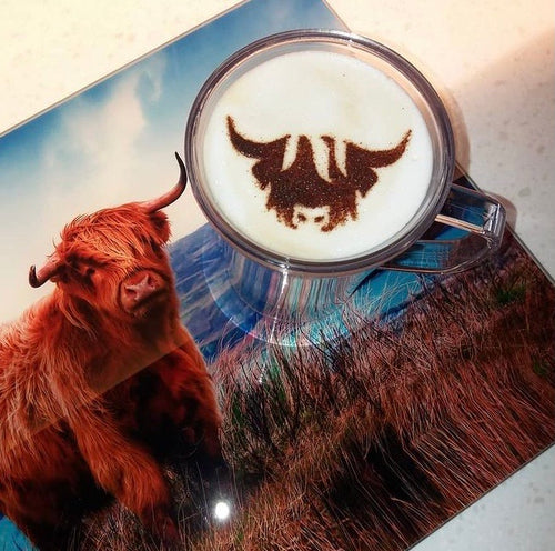 Highland Cow Coffee Stencil