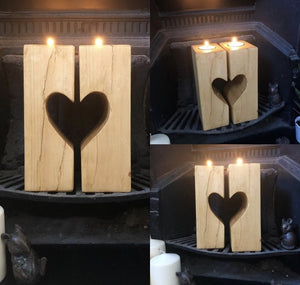 Wooden Heart Candle Sticks