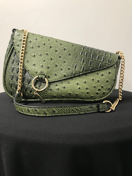 Green Ostrich Mini Shoulder Bag