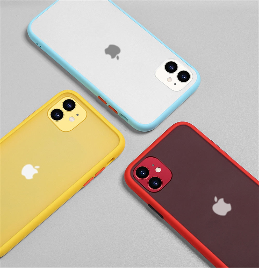 Luxury Contrast Color Matte Protective IPhone Case