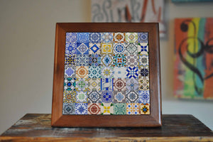 Portugal Ceramic Tile Coaster Set Artwork Trivet