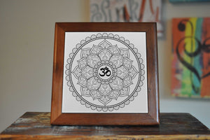 Mandala Yoga Buddha Ceramic Tile Coaster Set