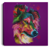 Hand Painted Sheltie Square Canvas .75in Frame