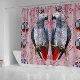 African Grey Parrot Floral Print Shower Curtains - grumpycat.store