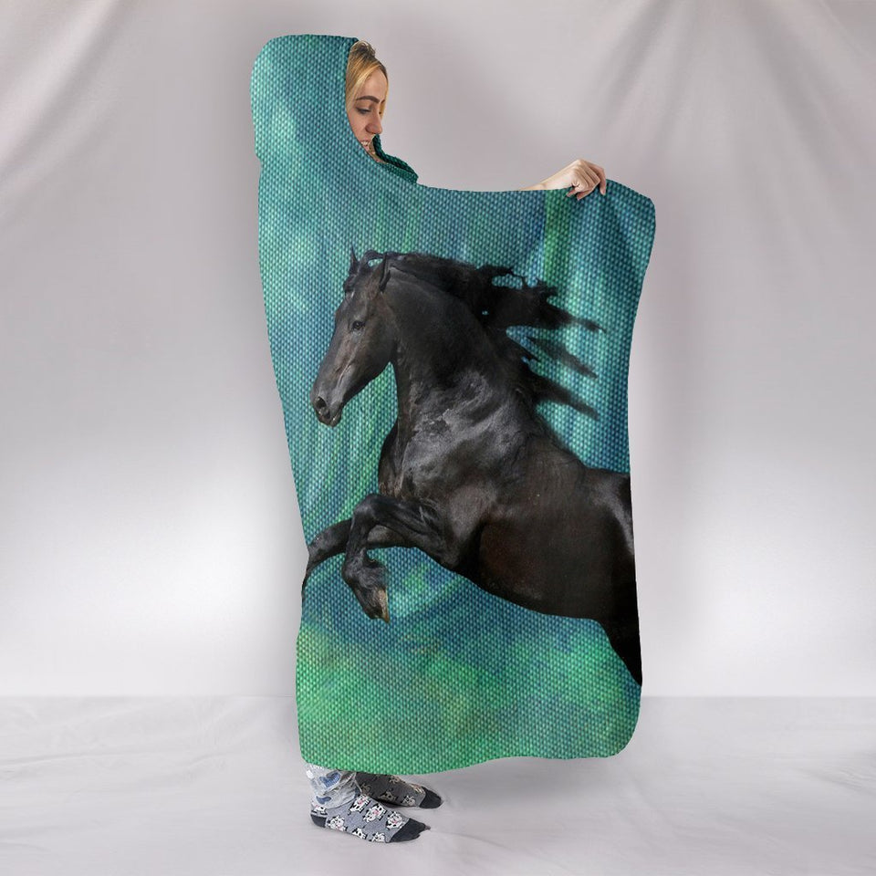Amazing Andalusian Horse Print Hooded Blanket - grumpycat.store