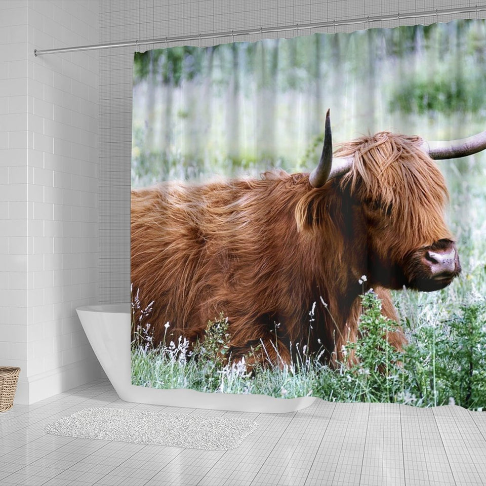 Amazing Highland Cattle (Cow) Print Shower Curtains - grumpycat.store