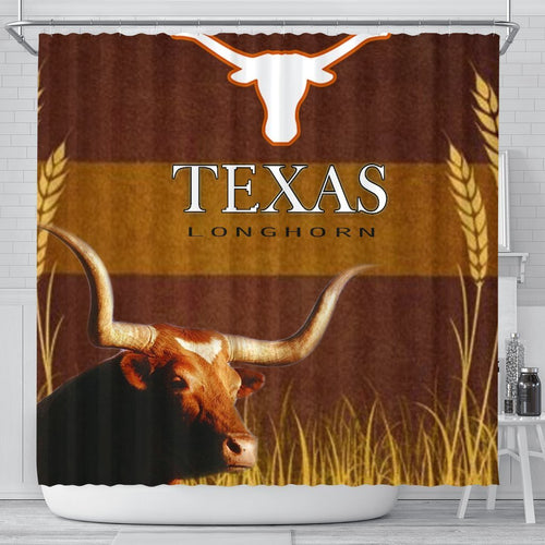 Amazing Texas Longhorn Cattle (Cow) Print Shower Curtain - grumpycat.store