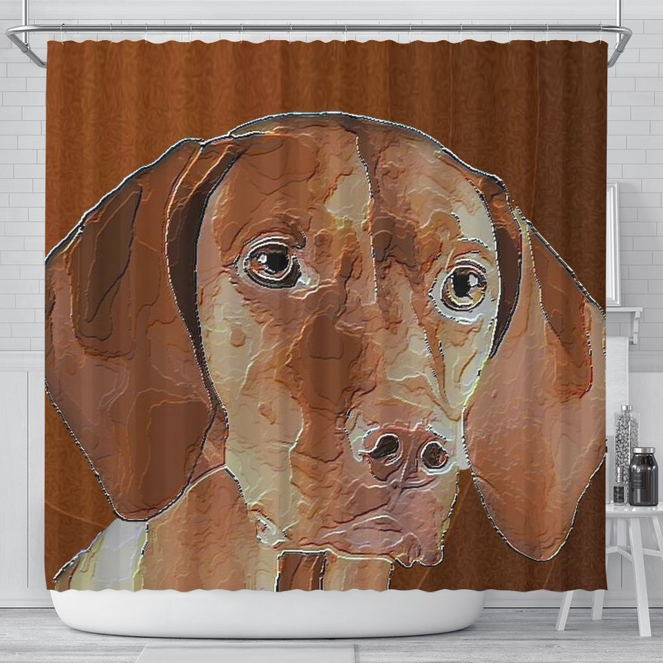 Amazing Vizsla Dog Art Print Shower Curtain - grumpycat.store