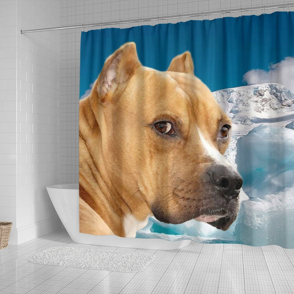 American Staffordshire Terrier Print Shower Curtains - grumpycat.store