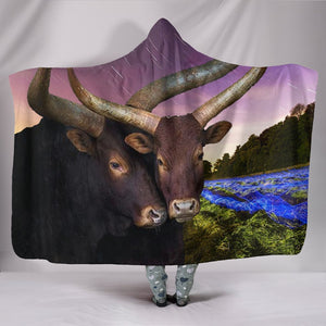 Ankole Watusi Cattle Print Hooded Blanket - grumpycat.store
