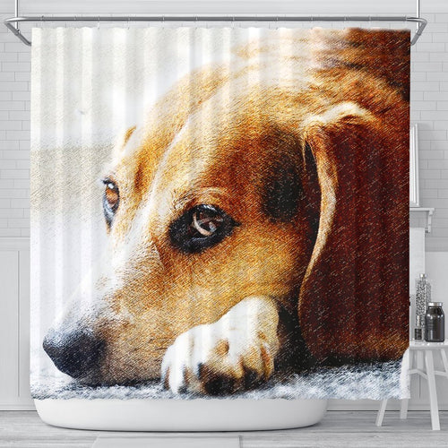 Beagle Dog Art Print Shower Curtains - grumpycat.store