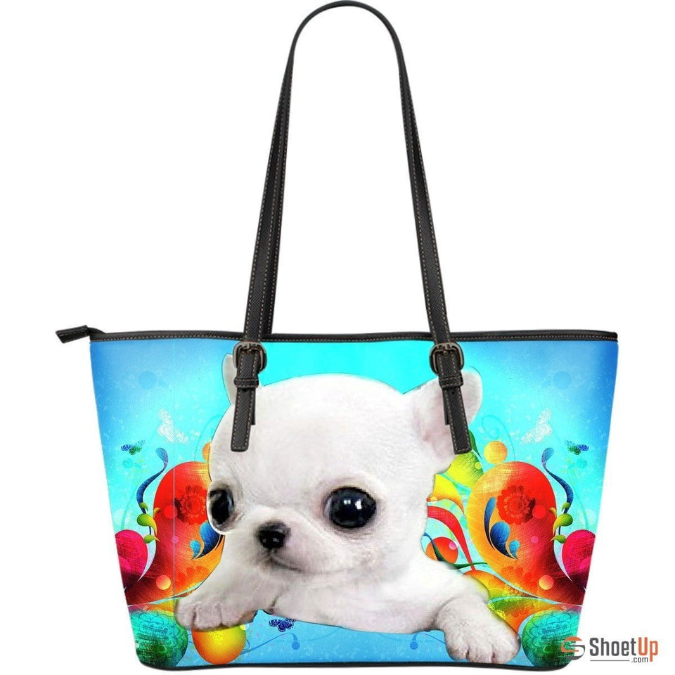 Chihuahua DogLarge Leather Tote Bag - grumpycat.store