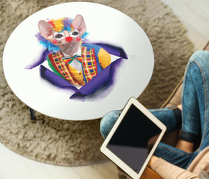"""Clown"" Sphynx Cat Print Circular Coffee Table - grumpycat.store"