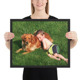 Framed poster - Amazing sight of boy happily sleeping on and with his dog outside in the grass - grumpycat.store