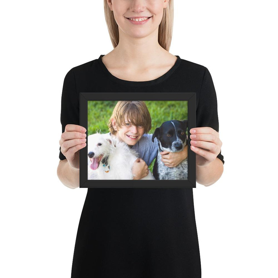Framed poster - Young boy with the dogs he loves - grumpycat.store