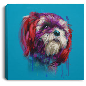 Hand Painted Shih Tzu Square Canvas .75in Frame - grumpycat.store