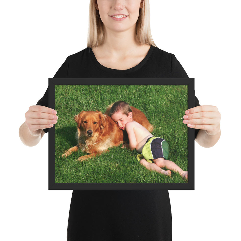 Framed poster - Amazing sight of boy happily sleeping on and with his dog outside in the grass