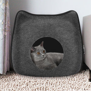 Portable Cute Cat Shape Cat Cave Pet Bed Gray - grumpycat.store