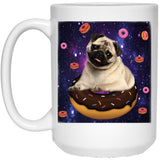 SPACE PUG RIDING DONUTS 15 oz. White Mug - grumpycat.store