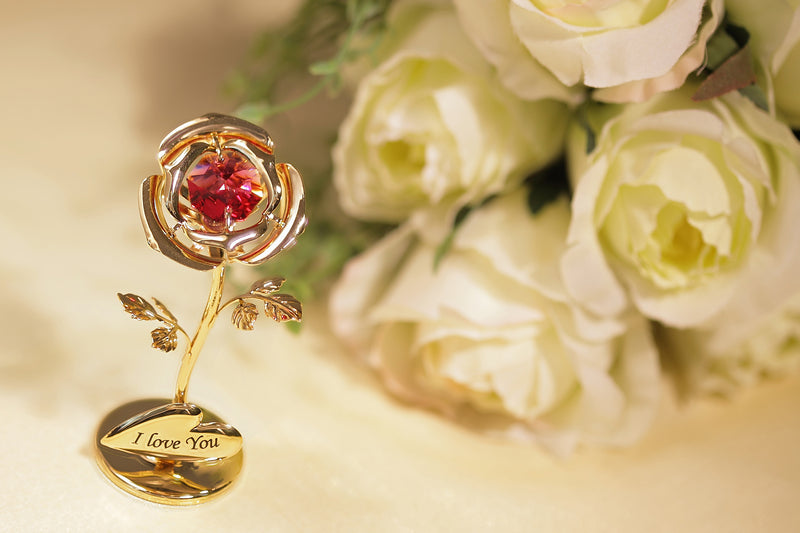 美女與野獸水晶玫瑰花 採用Swarovski元素 (金色) Beauty And The Beast Crystal Rose Figurine (Gold)