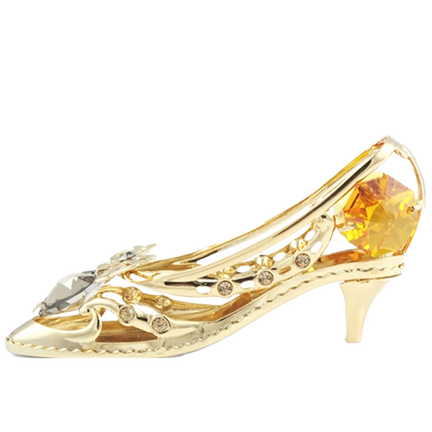 灰姑娘水晶高跟鞋 採用Swarovski元素 (金色) Crystal Cinderella Shoe High Heel Figurine Chrome Heart (Gold)