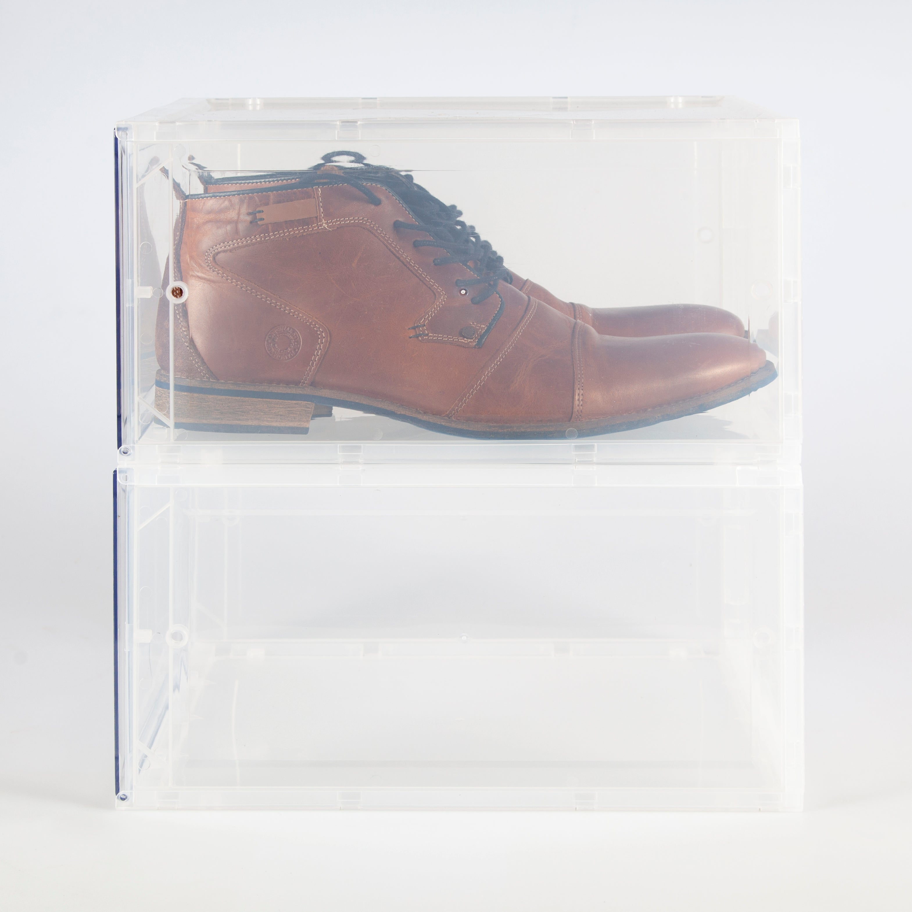 Clear Shoe Box with drop down lid
