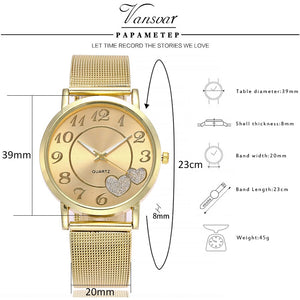 Gold Mesh Love Heart Dial Wristwatch