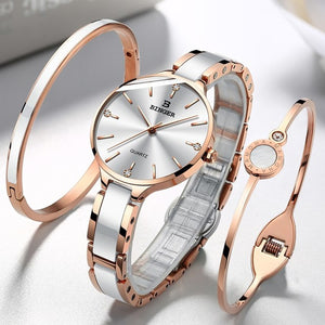 Relogio feminino Luxury Watch Women Switzerland BINGER Gold Ladies Watch Quartz Sapphire Ceramic band 30m Waterproof+2 Bracelets
