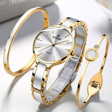 Load image into Gallery viewer, Relogio feminino Luxury Watch Women Switzerland BINGER Gold Ladies Watch Quartz Sapphire Ceramic band 30m Waterproof+2 Bracelets