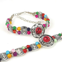 Load image into Gallery viewer, PTSD Awareness Natural Stone Beads Charm Bracelet